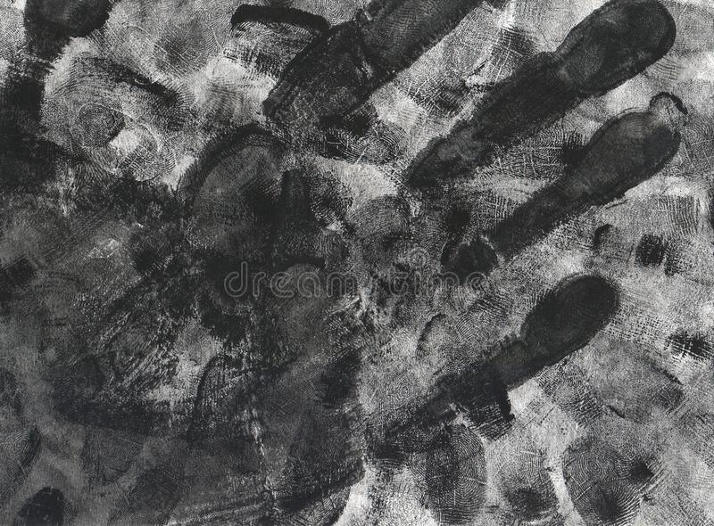 Handprint e fondo di lerciume dell'impronta digitale fotografie stock libere da diritti