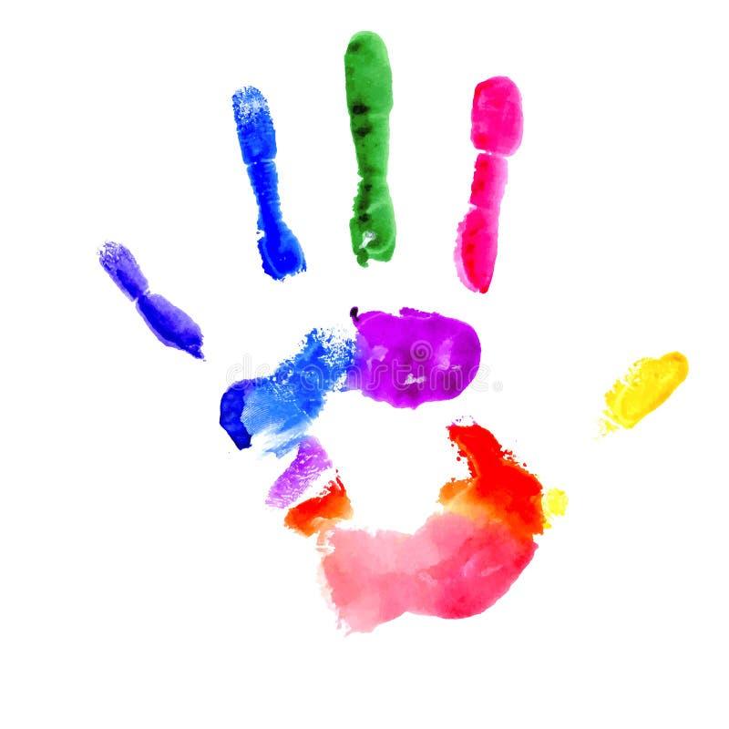 Handprint em cores vibrantes do arco-íris ilustração do vetor