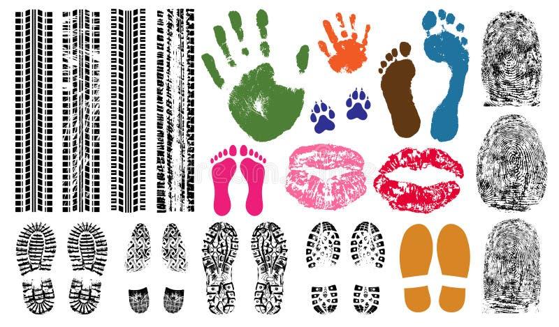 Handprint, empreinte de pas, empreinte digitale, copie des lèvres, voies de pneu Preuves réglées de collection d'empreinte illustration stock