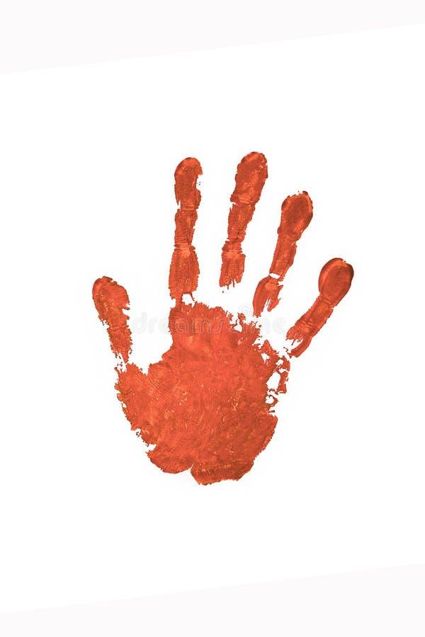 Handprint en pintura roja en un fondo blanco ilustración del vector