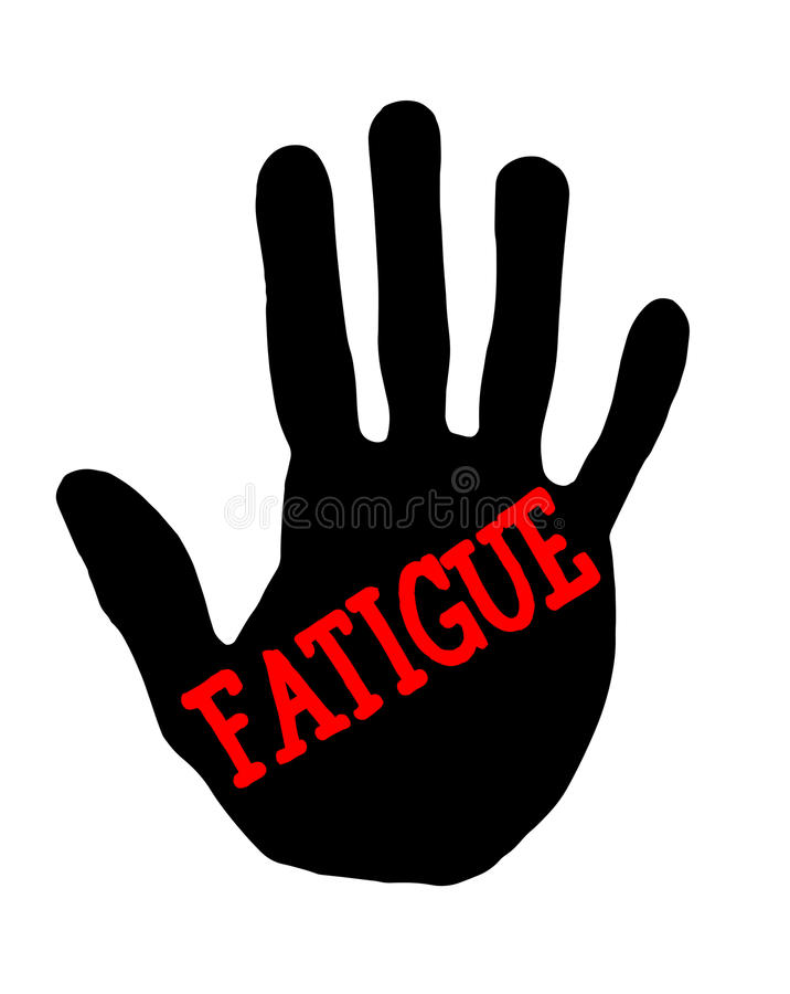 Handprint fatigue. Man handprint isolated on white background showing stop fatigue royalty free illustration