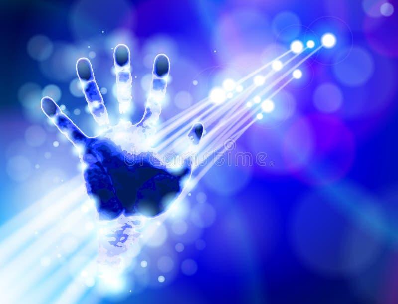 Handprint, fond bleu de technologie illustration stock