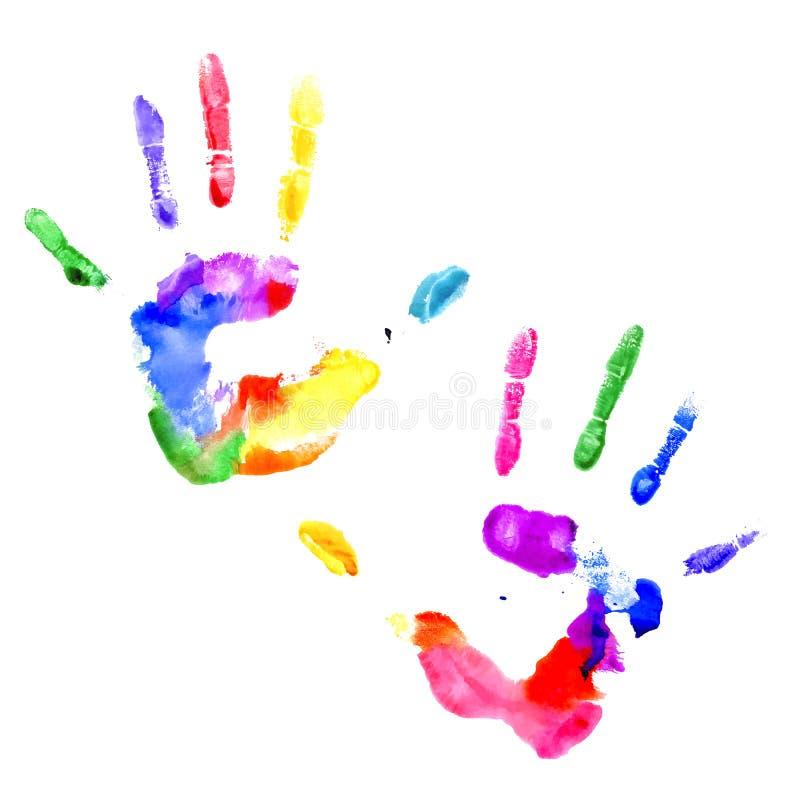 Handprint i vibrerande färger av regnbågen stock illustrationer