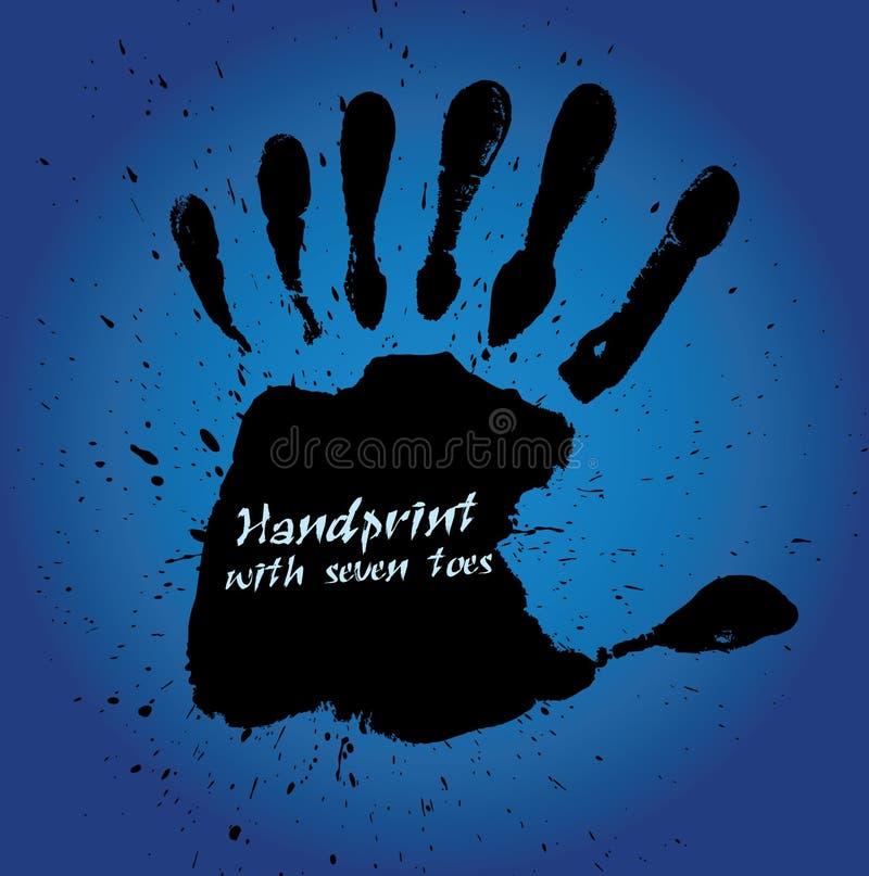Handprint met zeven vingers royalty-vrije illustratie