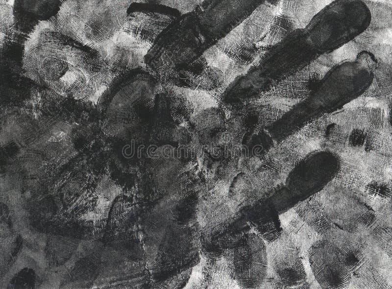 Handprint och fingeravtryckgrungebakgrund royaltyfria foton