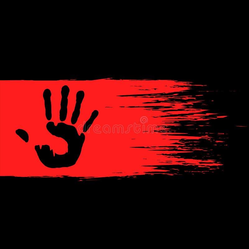 Handprint på den röda målarfärgen vektor illustrationer