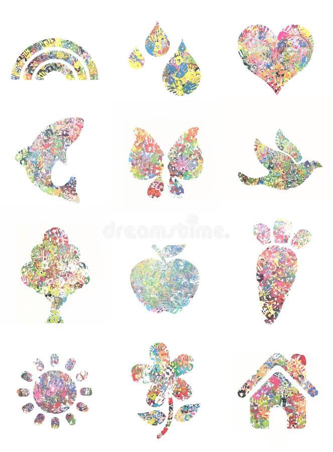 Handprint pintó formas - foto de archivo libre de regalías