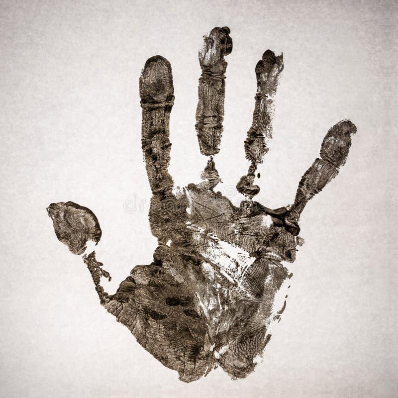 Handprint real en el papel real imágenes de archivo libres de regalías