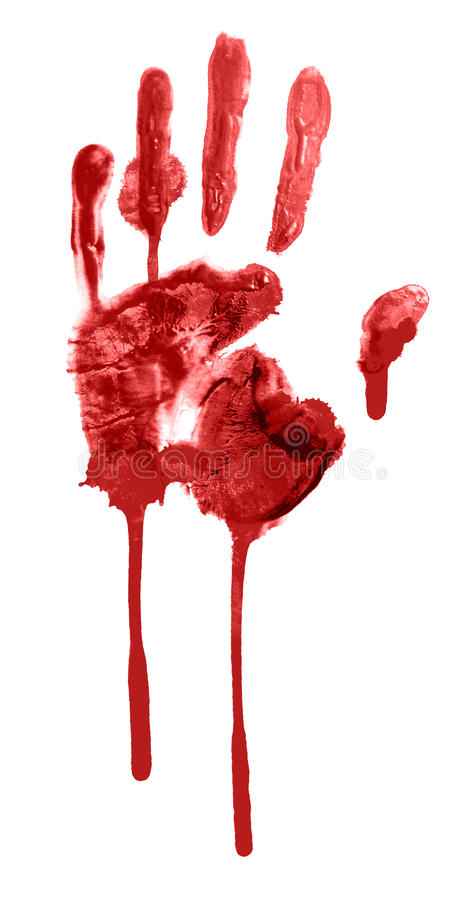 Handprint sanguinante immagine stock