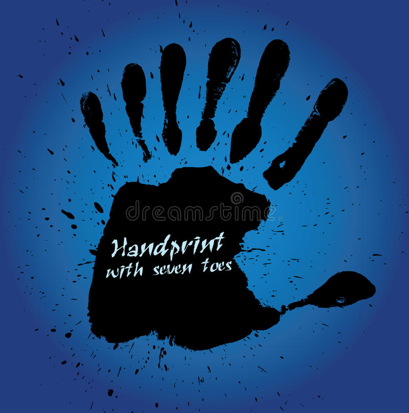 Handprint with seven fingers royalty free illustration