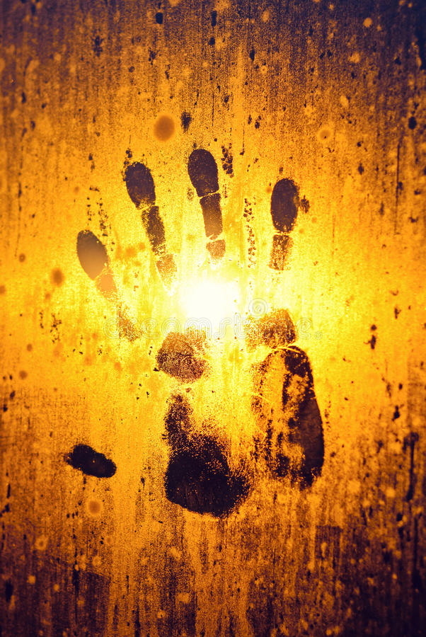 Download Handprint On Steamy Window Glass Royalty Free Stock Photo - Image: 22461045
