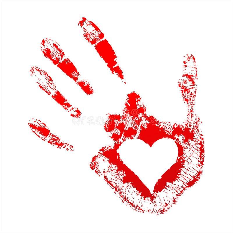 Handprint vermelho com um coração para dentro ilustração royalty free