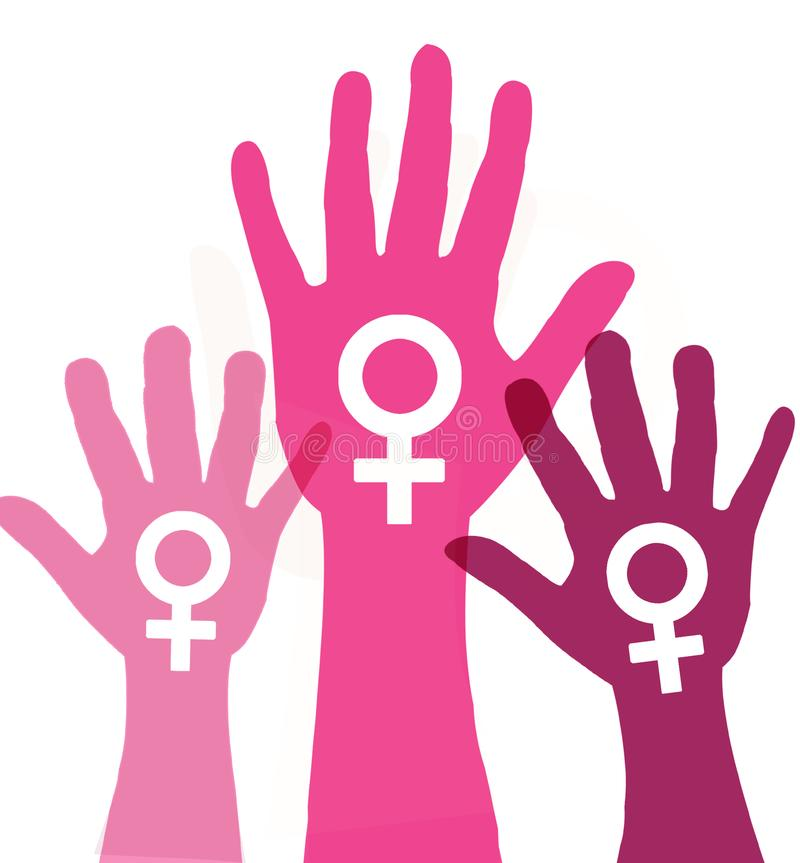 Handprint violeta, representando la idea de parar violencia contra ilustración del vector