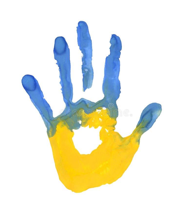 Handprint w postaci flaga Ukraina błękit i żółty kolor flaga royalty ilustracja