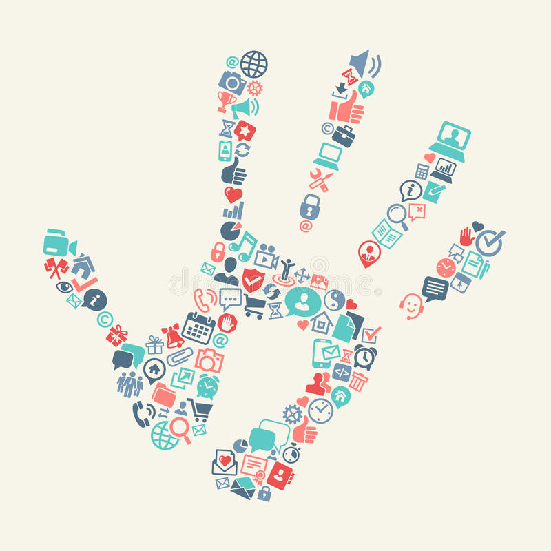 Handprint with web icons background vector illustration