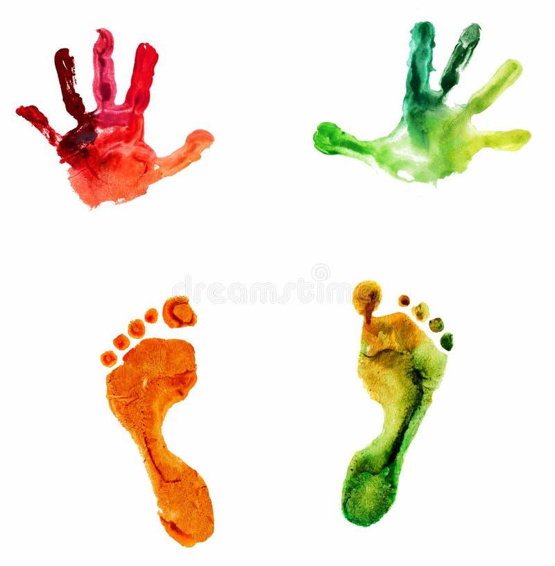 Handprint y huella coloridos de la acuarela ilustración del vector