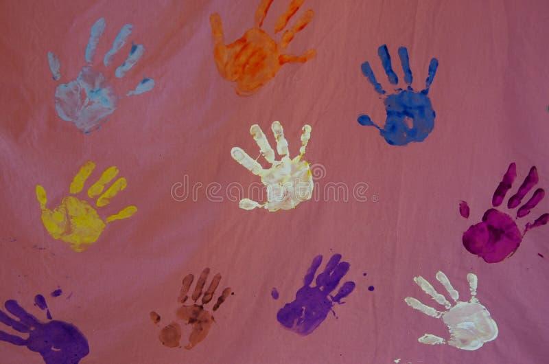 Handprints στον καμβά στοκ εικόνα με δικαίωμα ελεύθερης χρήσης