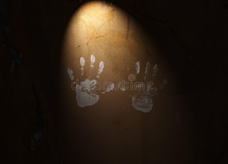 Handprints Auf Strukturierter Wand Stockbilder