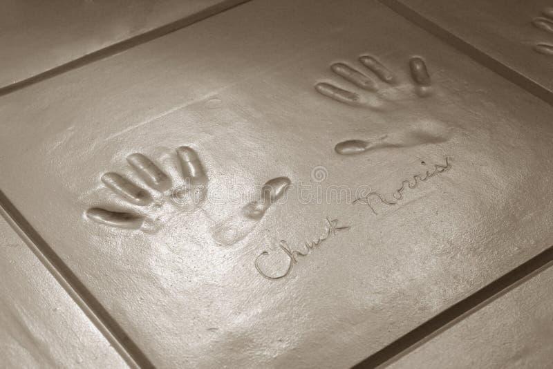 Handprints av Chuck Norris arkivfoto