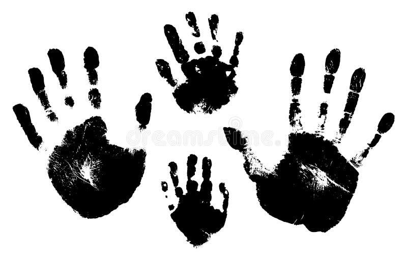 Handprints av en man, en kvinna, ett barn Vektorkontur på vit bakgrund royaltyfri illustrationer