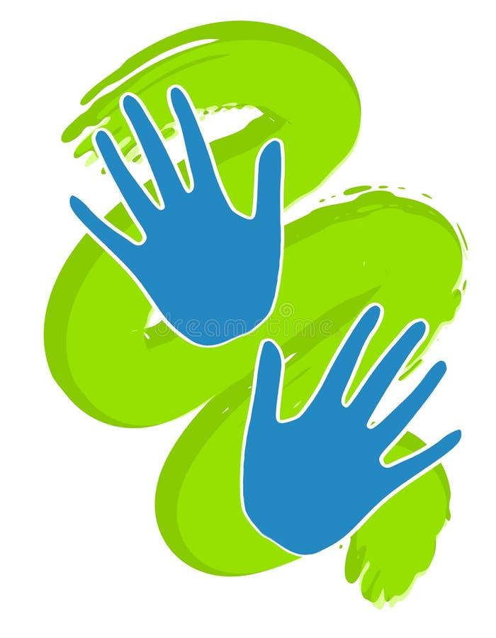 Handprints azul na pintura verde ilustração royalty free