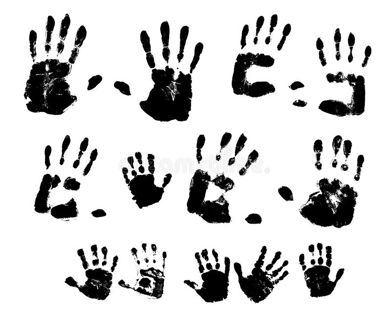 Handprints in black paint on a white background. Vector illustration. stock illustration