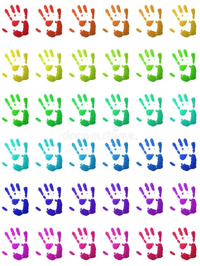 Handprints coloridos ilustración del vector