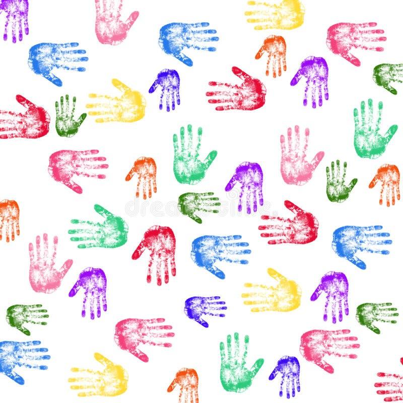 Handprints coloridos stock de ilustración