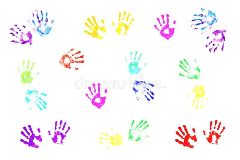 Handprints coloridos de los cabritos stock de ilustración