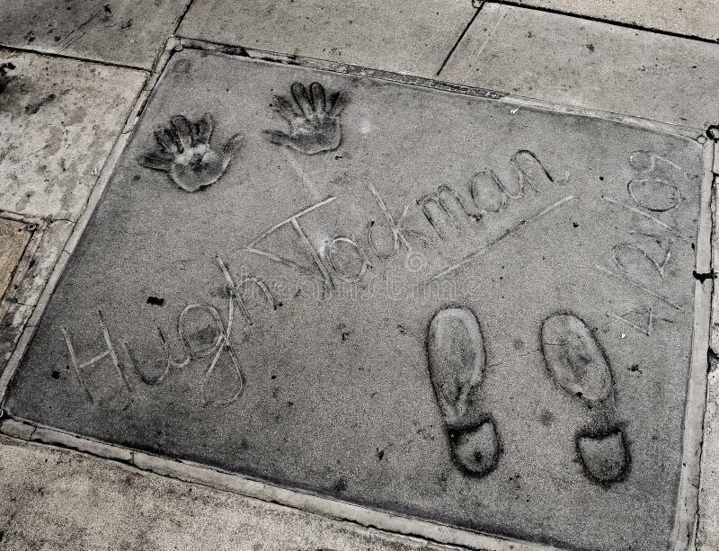 Handprints de Hugh Jackman en Hollywood fotografía de archivo libre de regalías
