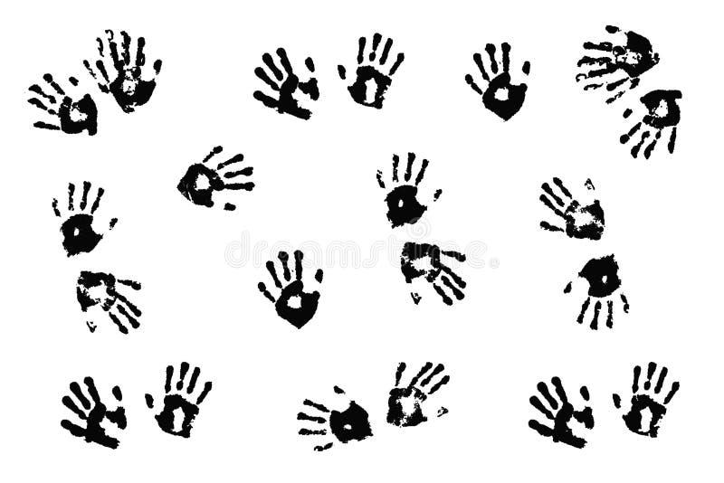 Handprints dei bambini reali su bianco illustrazione di stock
