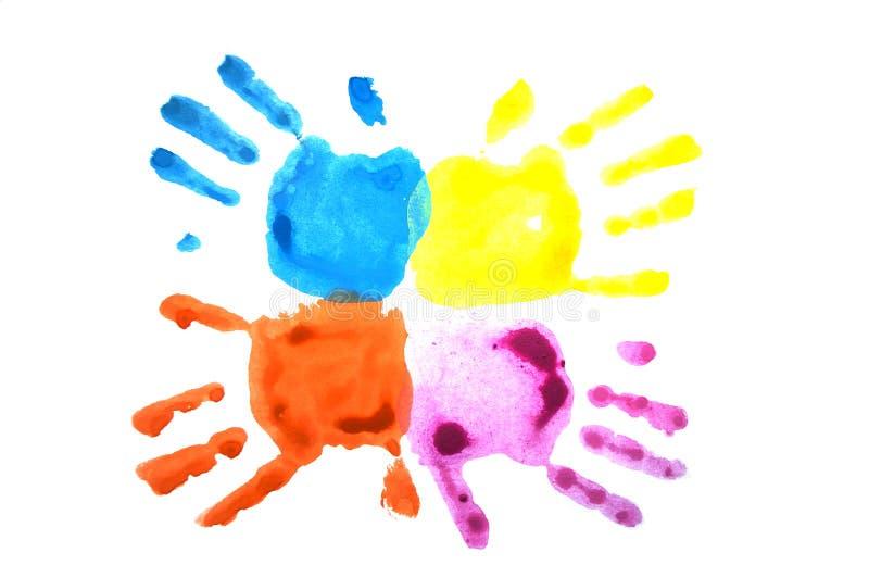 Handprints del rosa y del niño azul aislados en blanco libre illustration