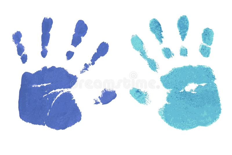 Handprints durch die Kinder lokalisiert auf einem weißen Hintergrund stockbild