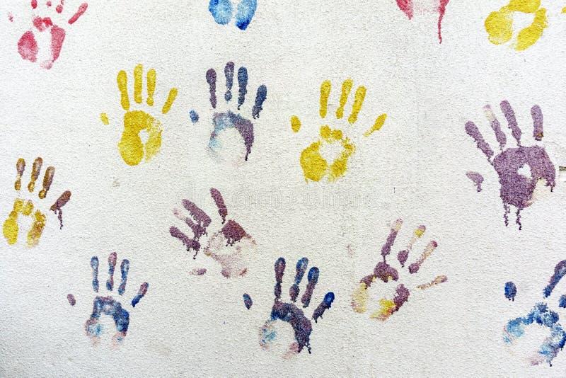 Handprints en la pared ilustración del vector