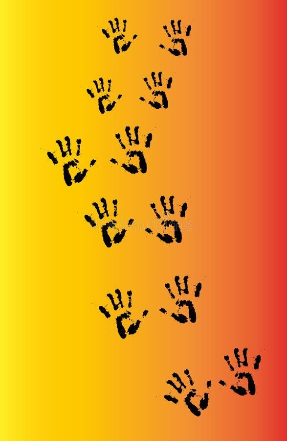 Handprints en un fondo de la pendiente ilustración del vector