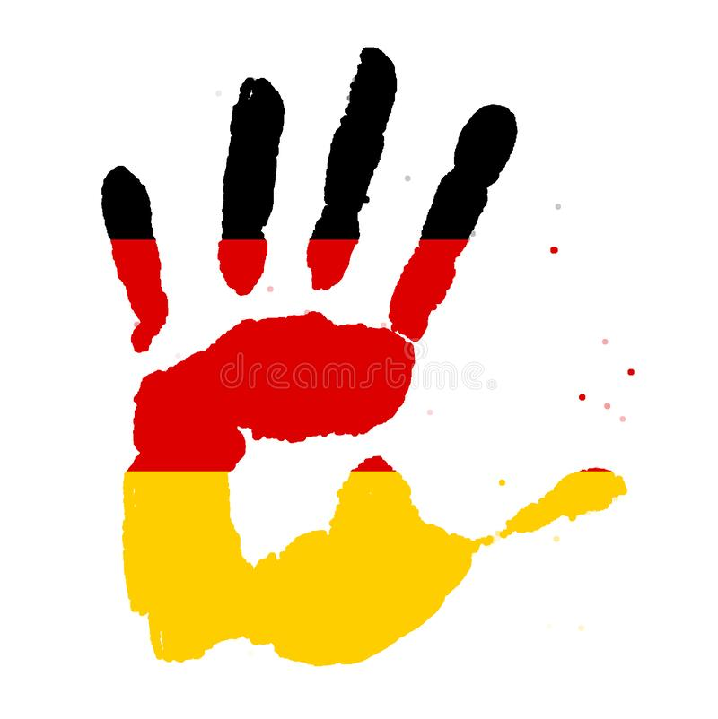 Handprints in the form of a flag of Germany, image of unity, freedom, independence. yellow black red ink imprint stock images