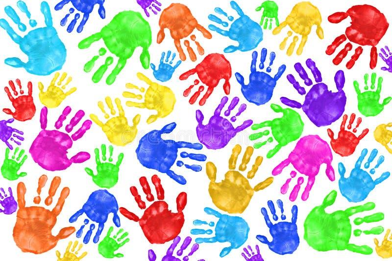 Handprints Handpainted dos miúdos imagens de stock royalty free