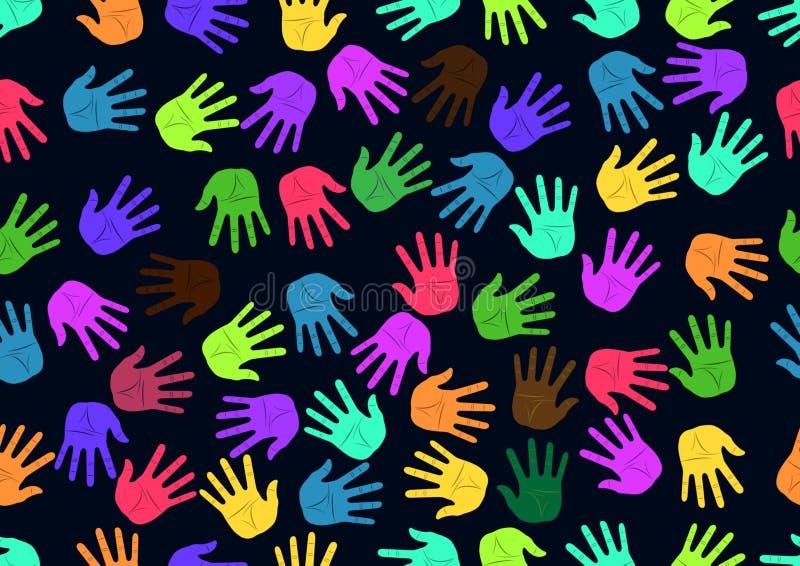 Handprints inconsútiles del color del modelo stock de ilustración