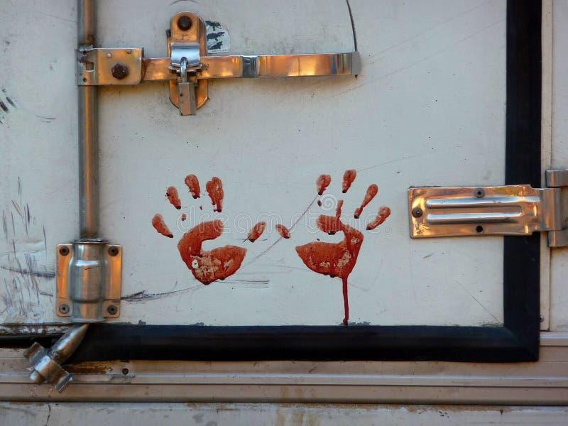 Handprints sangriento durante el banquete Eid al-Adha fotos de archivo libres de regalías