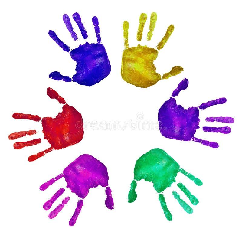 Handprints van verschillende kleuren stock foto's