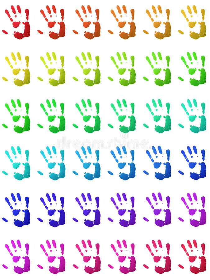 Handprints variopinti illustrazione vettoriale