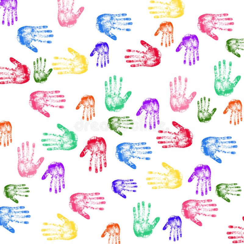 Handprints variopinti illustrazione di stock