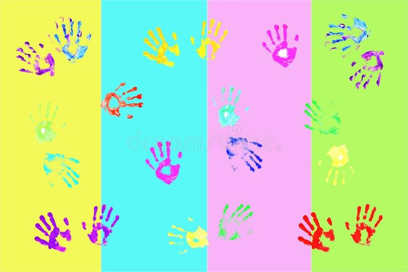 Handprints variopinti dai bambini illustrazione vettoriale