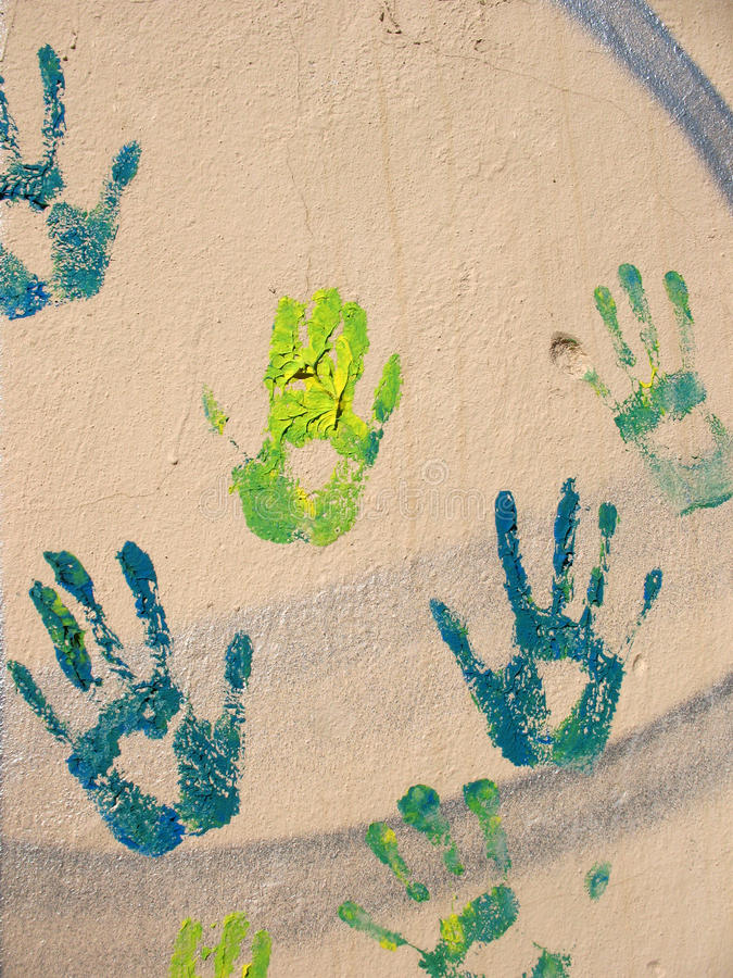 Handprints On The Wall Stock Photos