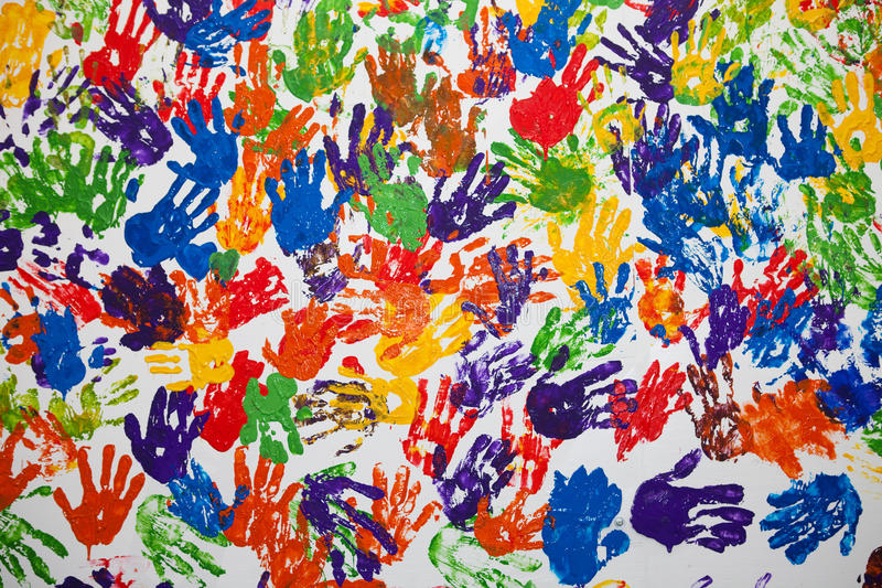 Handprints on a white wall. royalty free stock photo