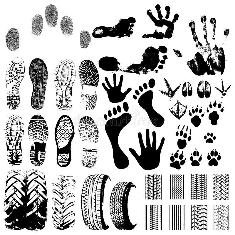 Handprints, wielen, voetafdrukken vector illustratie