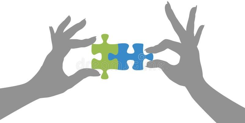 Handpuzzlespiel stellt Lösung zusammen stock abbildung