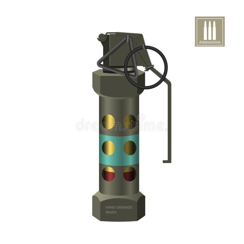 Handrökgranat av specialförband Detaljerad realistisk bild av anti--terrorist ammunitionar Polissprängmedel royaltyfri illustrationer