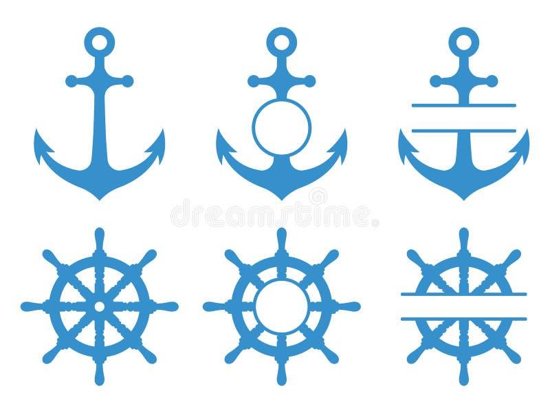 Handrad- und Ankerikonen In Meer heraus segeln Vektormonogramme eingestellt lokalisiert stock abbildung