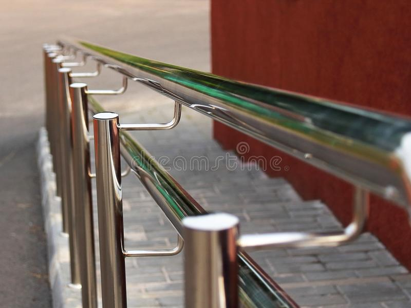 Handrails railing chrome steps in the stock photos